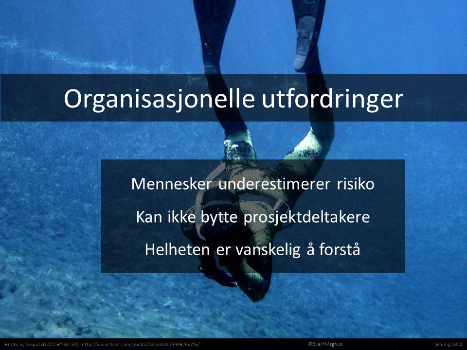 Photo by Saspotato (CC-BY-NC-SA) - http://www.flickr.com/photos/saspotato/4449735215/Smidig 2012 @SveinMagnus Organisasjonelle utfordringer Mennesker underestimerer risiko Kan ikke bytte prosjektdeltakere Helheten er vanskelig å forstå