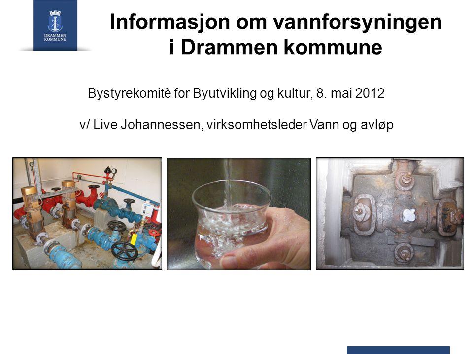 Informasjon om vannforsyningen i Drammen kommune Bystyrekomitè for Byutvikling og kultur, 8. mai 2012 v/ Live Johannessen, virksomhetsleder Vann og av