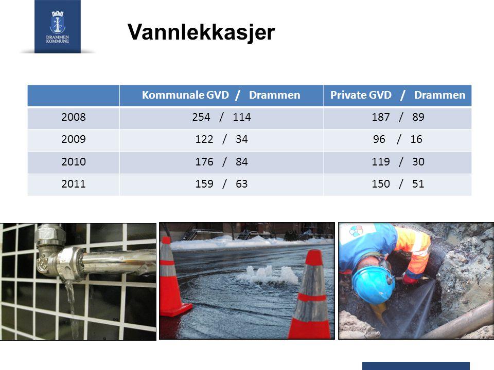 Vannlekkasjer Kommunale GVD / DrammenPrivate GVD / Drammen 2008254 / 114187 / 89 2009122 / 3496 / 16 2010176 / 84119 / 30 2011159 / 63150 / 51
