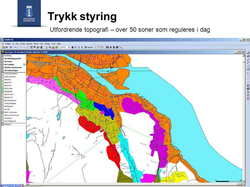 Trykk styring Utfordrende topografi – over 50 soner som reguleres i dag