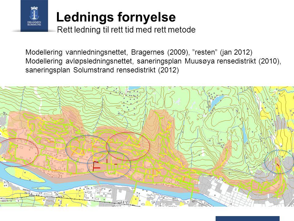 Lednings fornyelse Modellering vannledningsnettet, Bragernes (2009), resten (jan 2012) Modellering avløpsledningsnettet, saneringsplan Muusøya rensedistrikt (2010), saneringsplan Solumstrand rensedistrikt (2012) Rett ledning til rett tid med rett metode