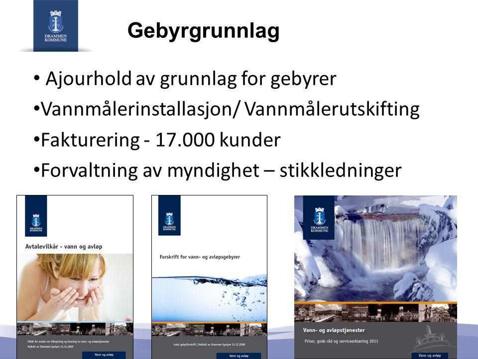Gebyrgrunnlag • Ajourhold av grunnlag for gebyrer • Vannmålerinstallasjon/ Vannmålerutskifting • Fakturering - 17.000 kunder • Forvaltning av myndighet – stikkledninger