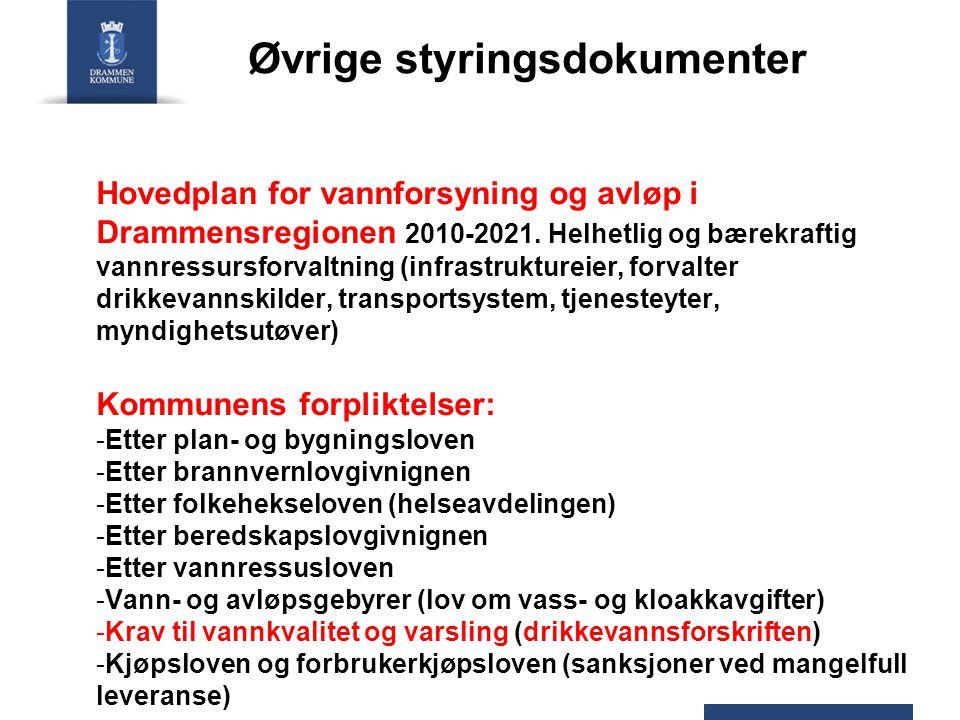 Øvrige styringsdokumenter Hovedplan for vannforsyning og avløp i Drammensregionen 2010-2021. Helhetlig og bærekraftig vannressursforvaltning (infrastr