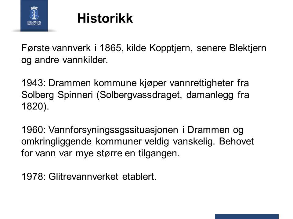 Første vannverk i 1865, kilde Kopptjern, senere Blektjern og andre vannkilder. 1943: Drammen kommune kjøper vannrettigheter fra Solberg Spinneri (Solb