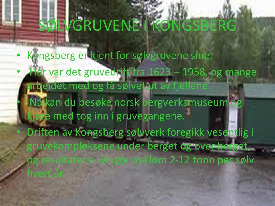SØLVGRUVENE I KONGSBERG • Kongsberg er kjent for sølvgruvene sine. • Her var det gruvedrift fra 1623 – 1958, og mange arbeidet med og få sølvet ut av