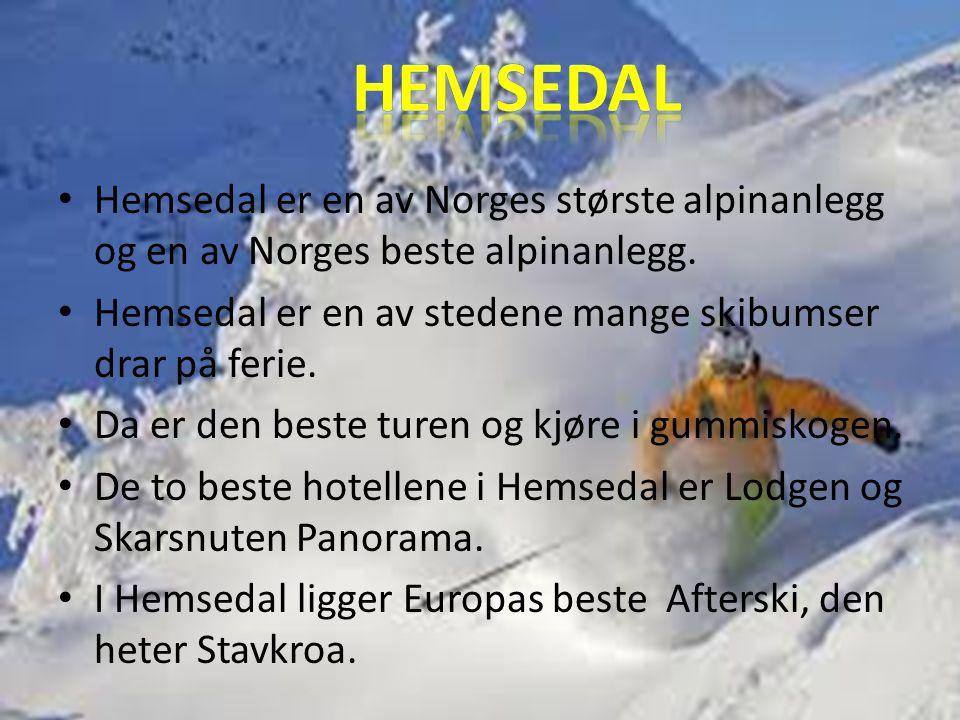 •H•Hemsedal er en av Norges største alpinanlegg og en av Norges beste alpinanlegg. •H•Hemsedal er en av stedene mange skibumser drar på ferie. •D•Da e