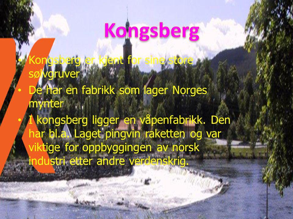 • Kongsberg er kjent for sine store sølvgruver • De har en fabrikk som lager Norges mynter • I kongsberg ligger en våpenfabrikk. Den har bl.a. Laget p