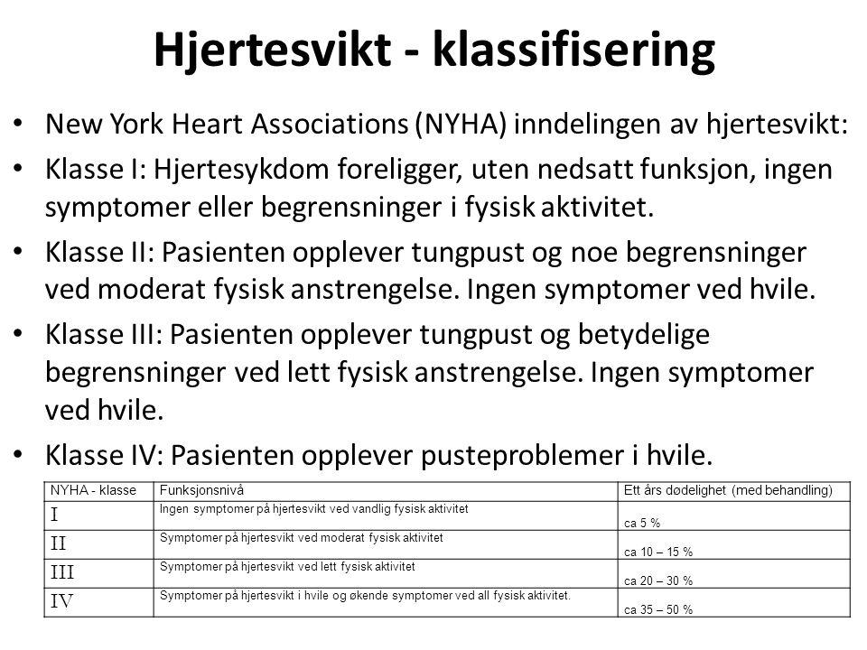 Hjertesvikt - klassifisering • New York Heart Associations (NYHA) inndelingen av hjertesvikt: • Klasse I: Hjertesykdom foreligger, uten nedsatt funksj