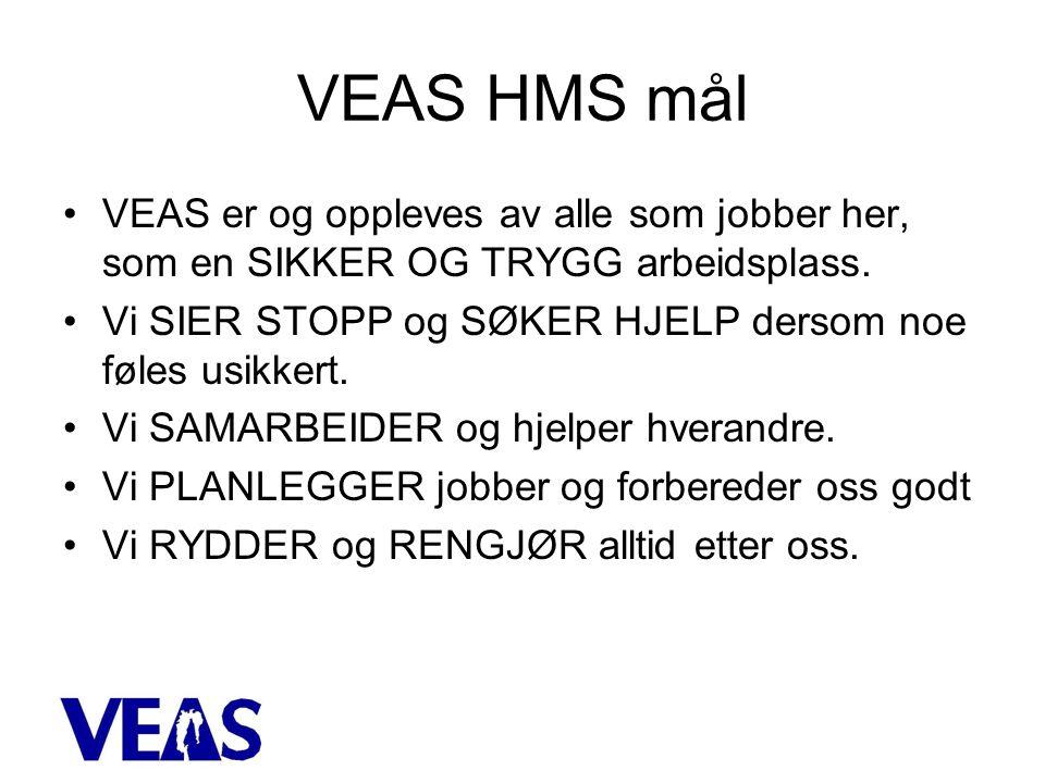 VEAS HMS mål •VEAS er og oppleves av alle som jobber her, som en SIKKER OG TRYGG arbeidsplass.