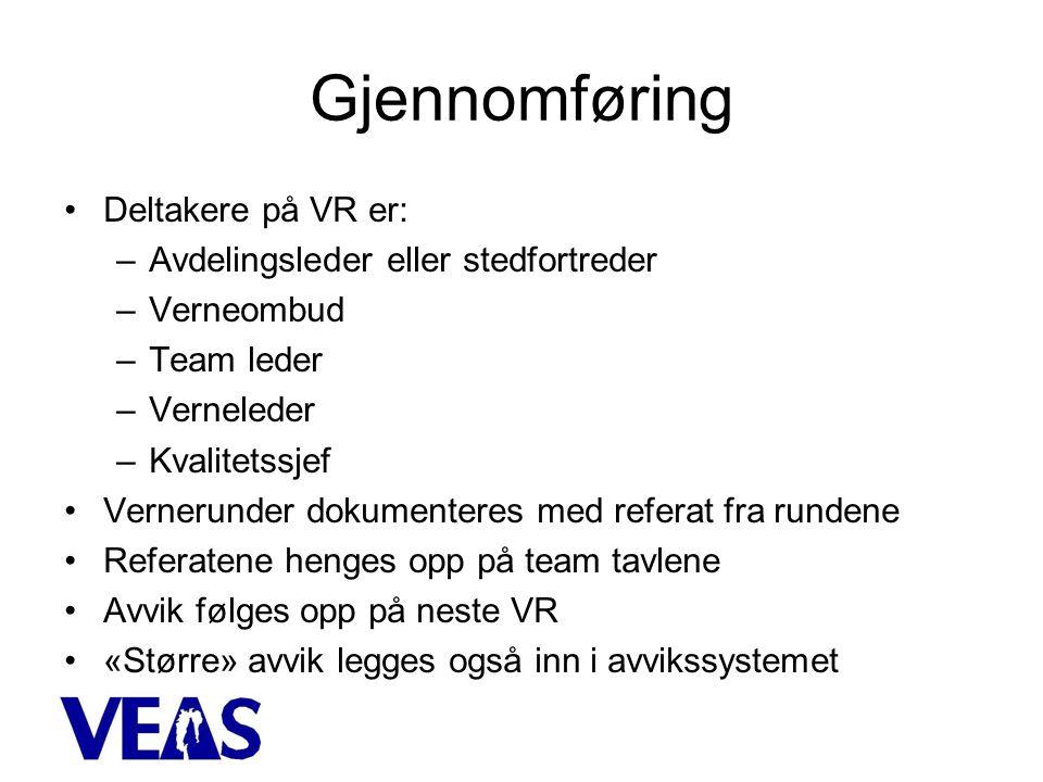 Gjennomføring •Deltakere på VR er: –Avdelingsleder eller stedfortreder –Verneombud –Team leder –Verneleder –Kvalitetssjef •Vernerunder dokumenteres med referat fra rundene •Referatene henges opp på team tavlene •Avvik følges opp på neste VR •«Større» avvik legges også inn i avvikssystemet