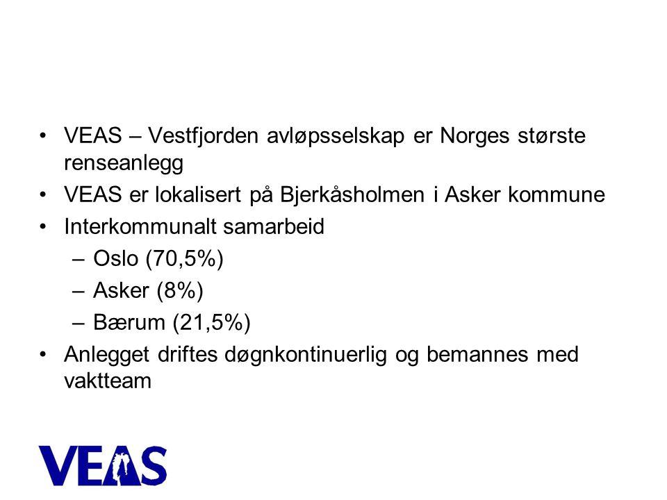 •VEAS – Vestfjorden avløpsselskap er Norges største renseanlegg •VEAS er lokalisert på Bjerkåsholmen i Asker kommune •Interkommunalt samarbeid –Oslo (70,5%) –Asker (8%) –Bærum (21,5%) •Anlegget driftes døgnkontinuerlig og bemannes med vaktteam