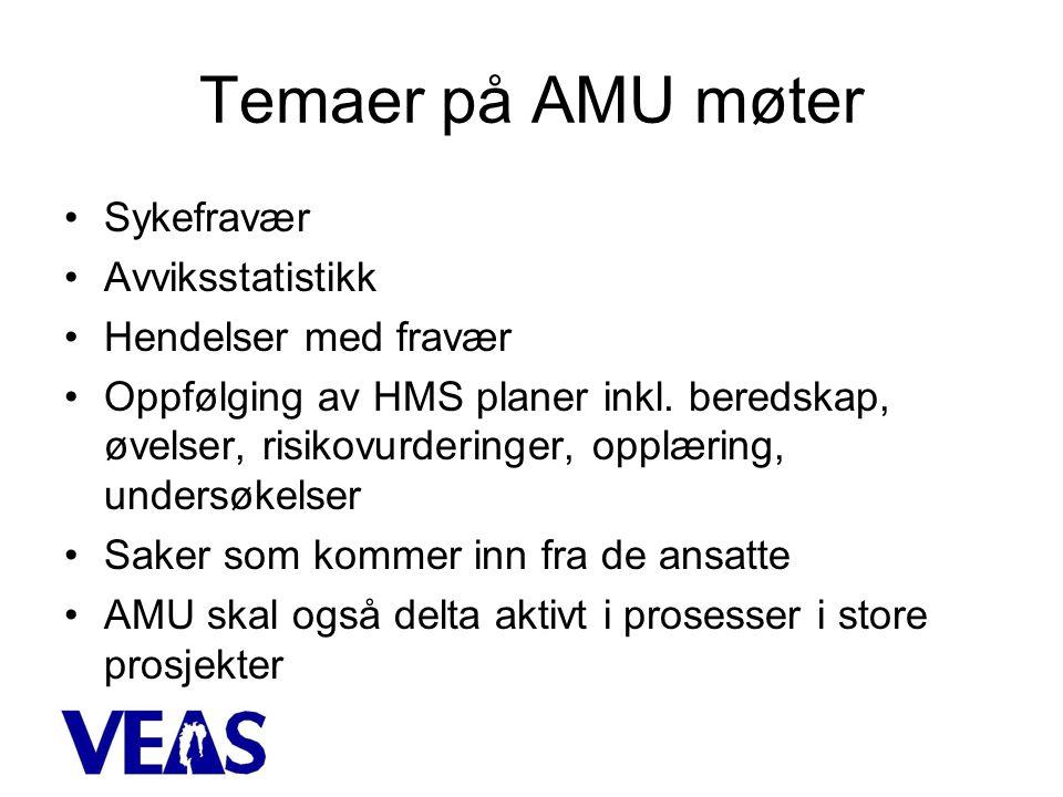 Temaer på AMU møter •Sykefravær •Avviksstatistikk •Hendelser med fravær •Oppfølging av HMS planer inkl.