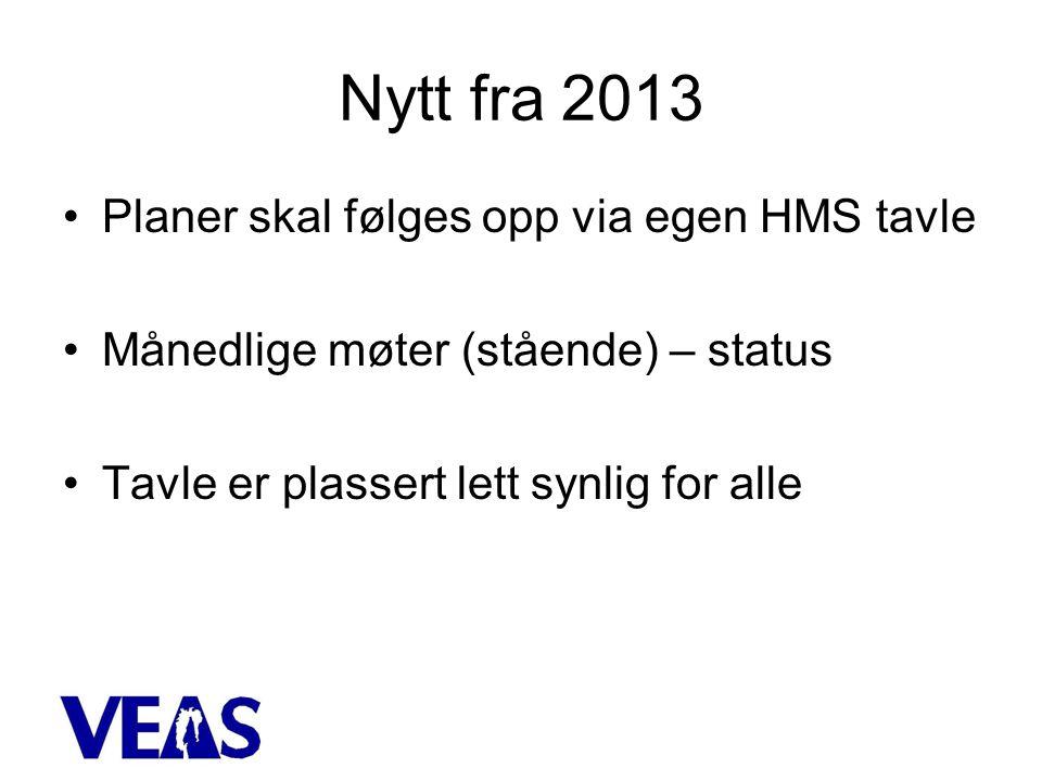Nytt fra 2013 •Planer skal følges opp via egen HMS tavle •Månedlige møter (stående) – status •Tavle er plassert lett synlig for alle