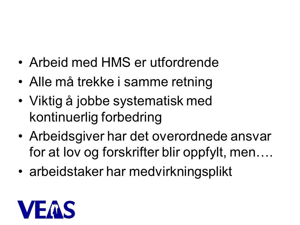 •Arbeid med HMS er utfordrende •Alle må trekke i samme retning •Viktig å jobbe systematisk med kontinuerlig forbedring •Arbeidsgiver har det overordnede ansvar for at lov og forskrifter blir oppfylt, men….