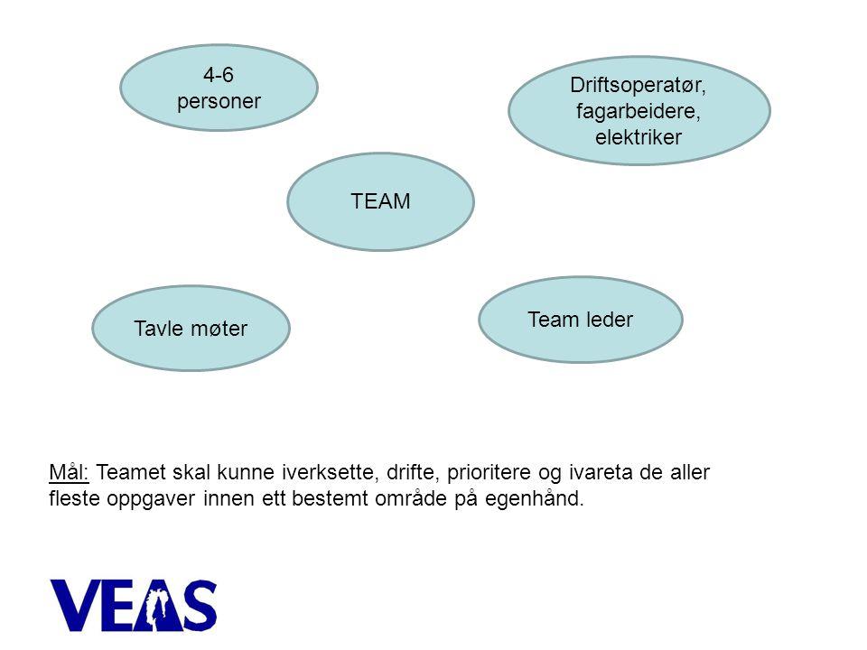 TEAM 4-6 personer Driftsoperatør, fagarbeidere, elektriker Team leder Tavle møter Mål: Teamet skal kunne iverksette, drifte, prioritere og ivareta de aller fleste oppgaver innen ett bestemt område på egenhånd.