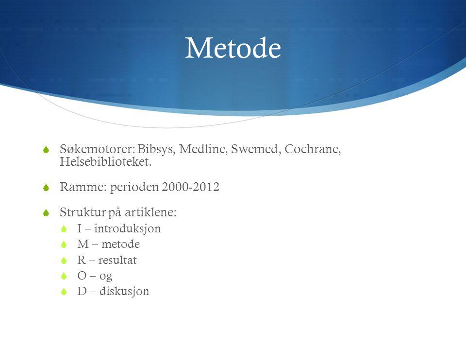 Metode  Søkemotorer: Bibsys, Medline, Swemed, Cochrane, Helsebiblioteket.  Ramme: perioden 2000-2012  Struktur på artiklene:  I – introduksjon  M