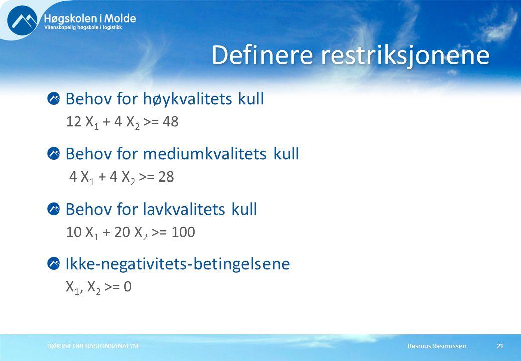 Rasmus RasmussenBØK350 OPERASJONSANALYSE21 Behov for høykvalitets kull 12 X 1 + 4 X 2 >= 48 Behov for mediumkvalitets kull 4 X 1 + 4 X 2 >= 28 Behov for lavkvalitets kull 10 X 1 + 20 X 2 >= 100 Ikke-negativitets-betingelsene X 1, X 2 >= 0 Definere restriksjonene