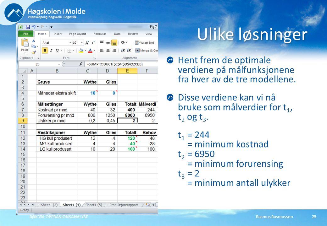 Rasmus RasmussenBØK350 OPERASJONSANALYSE25 Ulike løsninger Hent frem de optimale verdiene på målfunksjonene fra hver av de tre modellene.