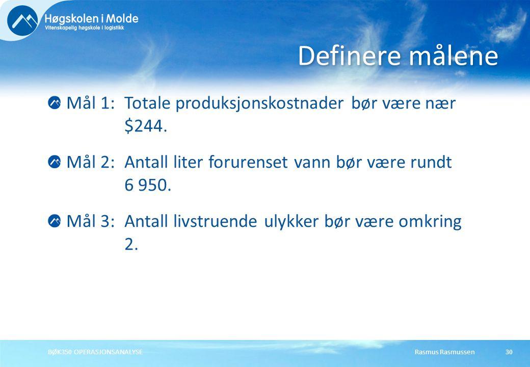 Rasmus RasmussenBØK350 OPERASJONSANALYSE30 Mål 1: Totale produksjonskostnader bør være nær $244.
