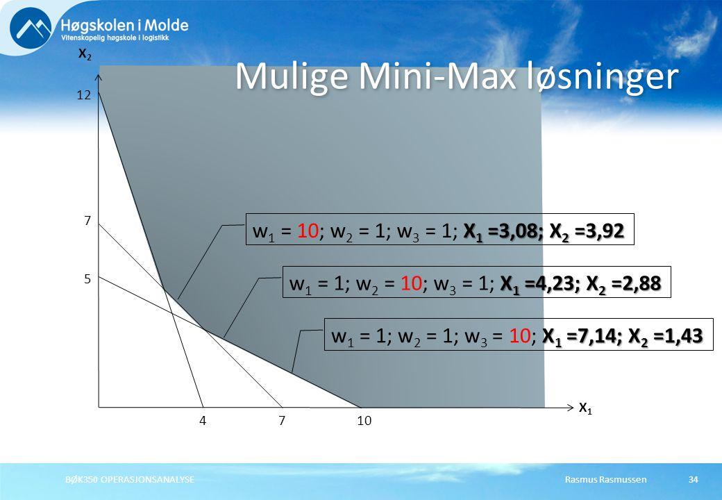 Rasmus Rasmussen34 Mulige Mini-Max løsninger X1X1 X2X2 7 BØK350 OPERASJONSANALYSE 7 4 12 X 1 =3,08; X 2 =3,92 w 1 = 10; w 2 = 1; w 3 = 1; X 1 =3,08; X 2 =3,92 10 5 X 1 =4,23; X 2 =2,88 w 1 = 1; w 2 = 10; w 3 = 1; X 1 =4,23; X 2 =2,88 X 1 =7,14; X 2 =1,43 w 1 = 1; w 2 = 1; w 3 = 10; X 1 =7,14; X 2 =1,43