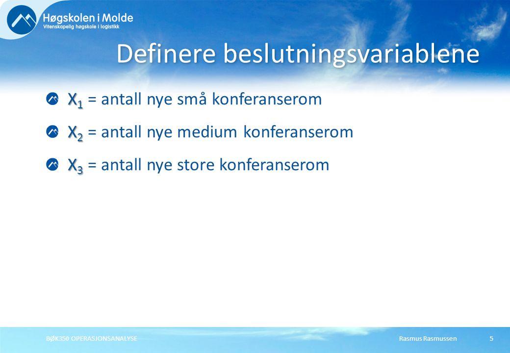 Rasmus RasmussenBØK350 OPERASJONSANALYSE5 X 1 X 1 = antall nye små konferanserom X 2 X 2 = antall nye medium konferanserom X 3 X 3 = antall nye store konferanserom Definere beslutningsvariablene