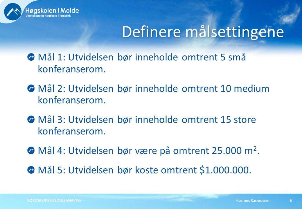 Rasmus Rasmussen27 Minimere kostnadene X1X1 X2X2 7 Medium: 4·X 1 + 4·X 2  28 Høy: 12·X 1 + 4·X 2  48 BØK350 OPERASJONSANALYSE 7 4 12 Lav: 10·X 1 + 20·X 2  100 10 5 Min kostnad: 40·X 1 + 32·X 2 LøsningX1X1 X2X2 KostnadGiftig vannUlykker 12,54,5$2447 6252,53
