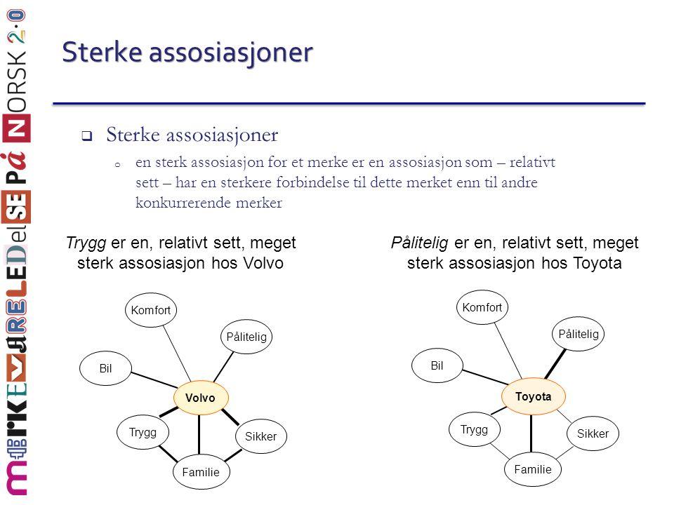 Sterke assosiasjoner  Sterke assosiasjoner o en sterk assosiasjon for et merke er en assosiasjon som – relativt sett – har en sterkere forbindelse ti