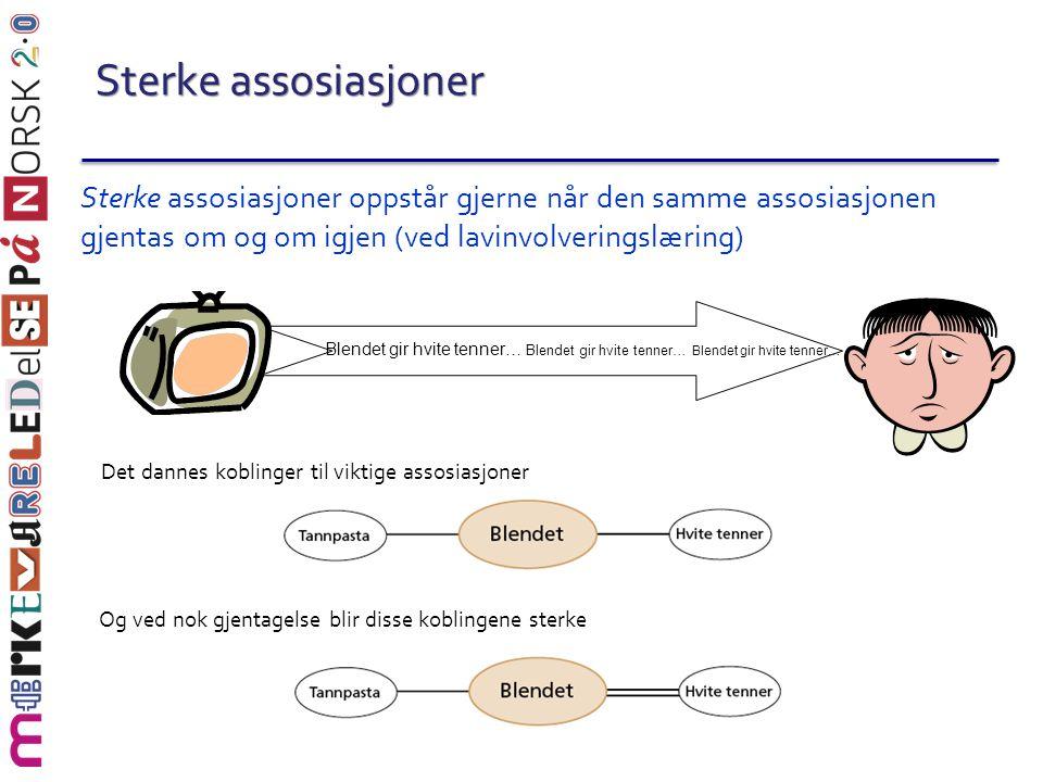 Sterke assosiasjoner Sterke assosiasjoner oppstår gjerne når den samme assosiasjonen gjentas om og om igjen (ved lavinvolveringslæring) Det dannes kob
