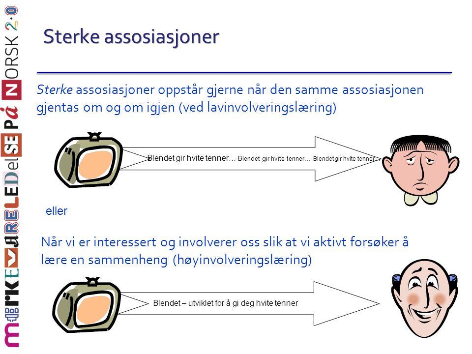 Sterke assosiasjoner Når vi er interessert og involverer oss slik at vi aktivt forsøker å lære en sammenheng (høyinvolveringslæring) Sterke assosiasjo