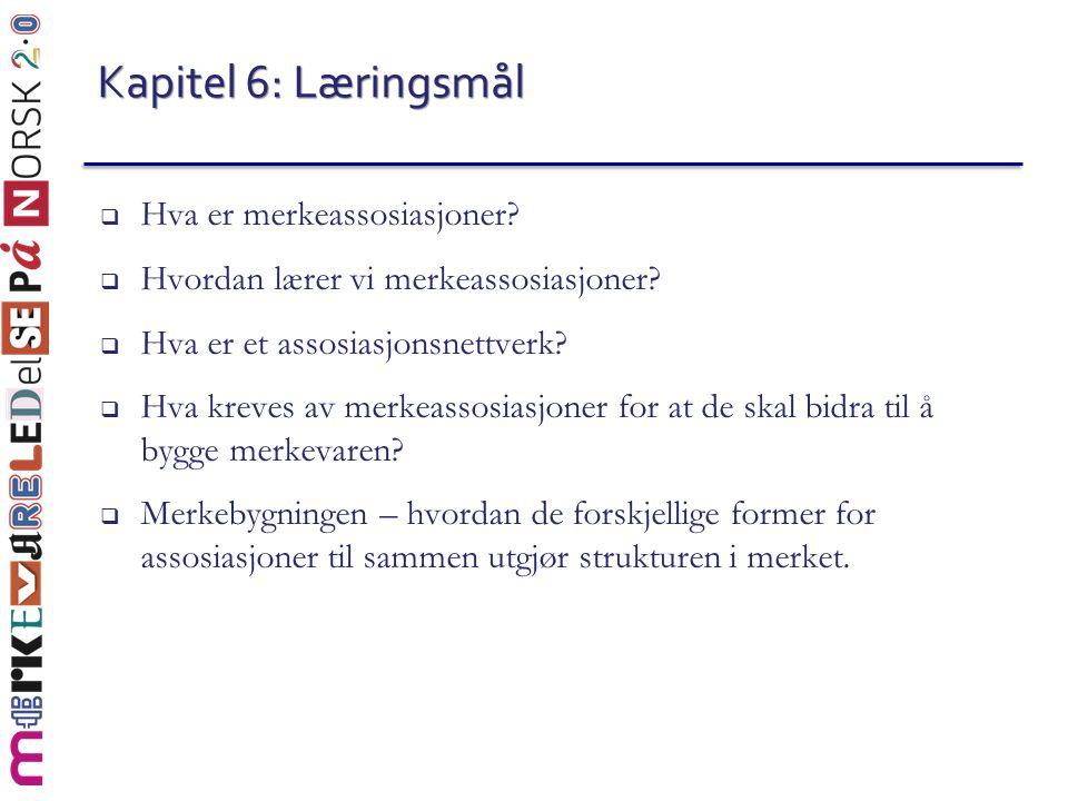 Kapitel 6: Læringsmål  Hva er merkeassosiasjoner?  Hvordan lærer vi merkeassosiasjoner?  Hva er et assosiasjonsnettverk?  Hva kreves av merkeassos