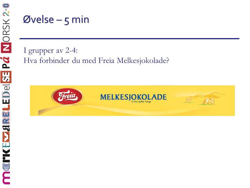 Øvelse – 5 min I grupper av 2-4: Hva forbinder du med Freia Melkesjokolade?