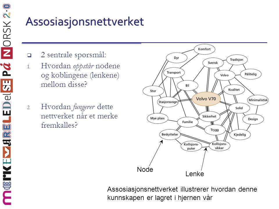 Assosiasjonsnettverket  2 sentrale spørsmål: 1. Hvordan oppstår nodene og koblingene (lenkene) mellom disse? 2. Hvordan fungerer dette nettverket når
