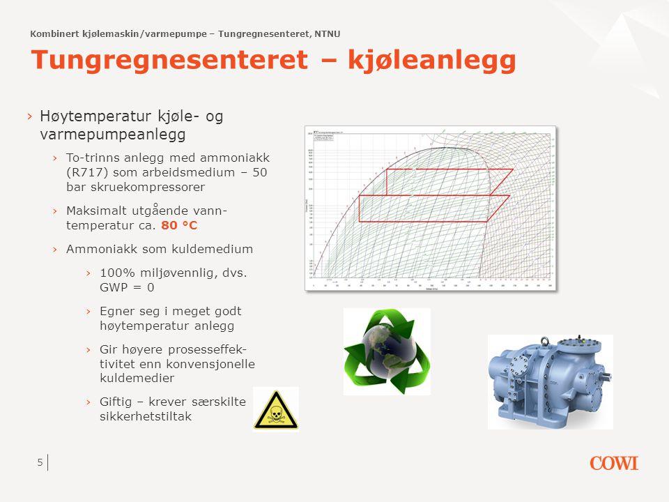 5 Tungregnesenteret – kjøleanlegg ›Høytemperatur kjøle- og varmepumpeanlegg ›To-trinns anlegg med ammoniakk (R717) som arbeidsmedium – 50 bar skruekom