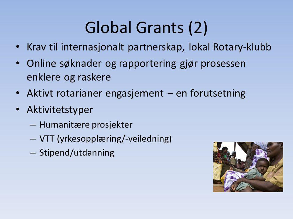 Global Grants (2) • Krav til internasjonalt partnerskap, lokal Rotary-klubb • Online søknader og rapportering gjør prosessen enklere og raskere • Aktivt rotarianer engasjement – en forutsetning • Aktivitetstyper – Humanitære prosjekter – VTT (yrkesopplæring/-veiledning) – Stipend/utdanning