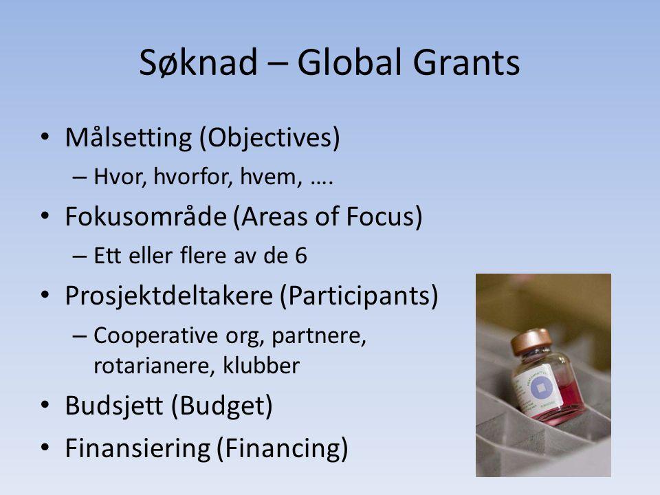 Søknad – Global Grants • Målsetting (Objectives) – Hvor, hvorfor, hvem, …. • Fokusområde (Areas of Focus) – Ett eller flere av de 6 • Prosjektdeltaker