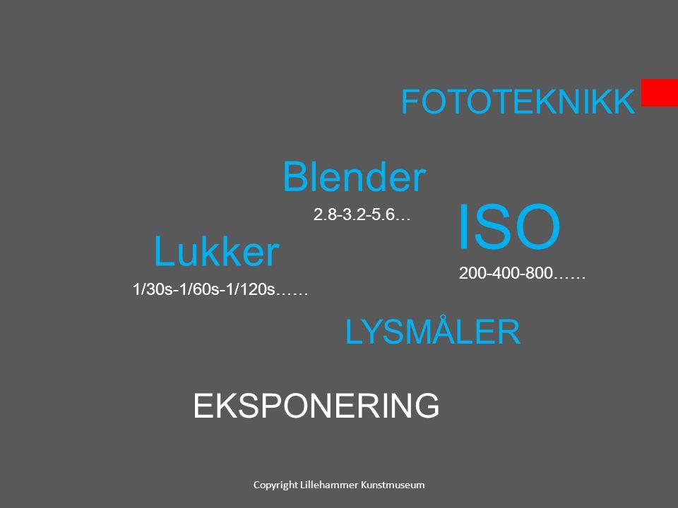 FOTOTEKNIKK Blender 2.8-3.2-5.6… Lukker 1/30s-1/60s-1/120s…… ISO 200-400-800…… LYSMÅLER EKSPONERING Copyright Lillehammer Kunstmuseum