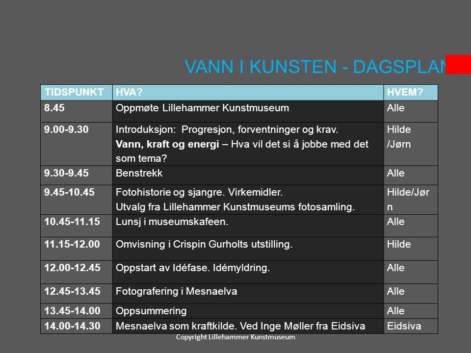 VANN I KUNSTEN - DAGSPLAN Copyright Lillehammer Kunstmuseum TIDSPUNKTHVA?HVEM? 8.45Oppmøte Lillehammer KunstmuseumAlle 9.00-9.30 Introduksjon: Progres