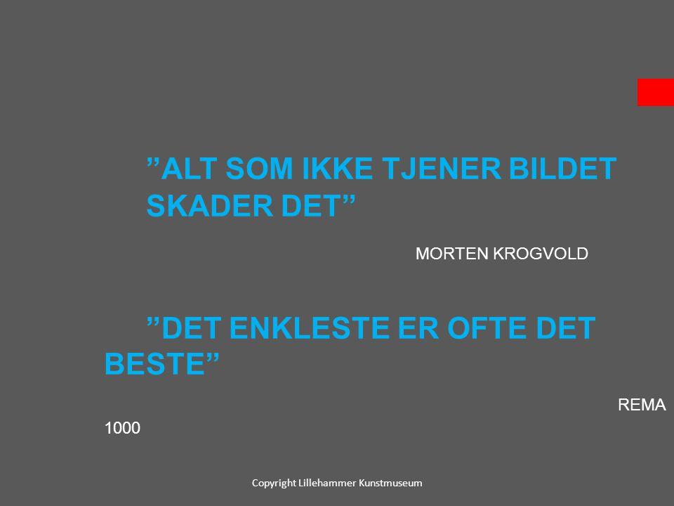 """""""ALT SOM IKKE TJENER BILDET SKADER DET"""" MORTEN KROGVOLD """"DET ENKLESTE ER OFTE DET BESTE"""" REMA 1000 Copyright Lillehammer Kunstmuseum"""