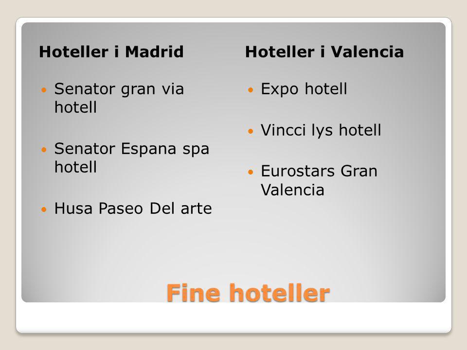 Fine hoteller Fine hoteller Hoteller i MadridHoteller i Valencia  Senator gran via hotell  Senator Espana spa hotell  Husa Paseo Del arte  Expo hotell  Vincci lys hotell  Eurostars Gran Valencia