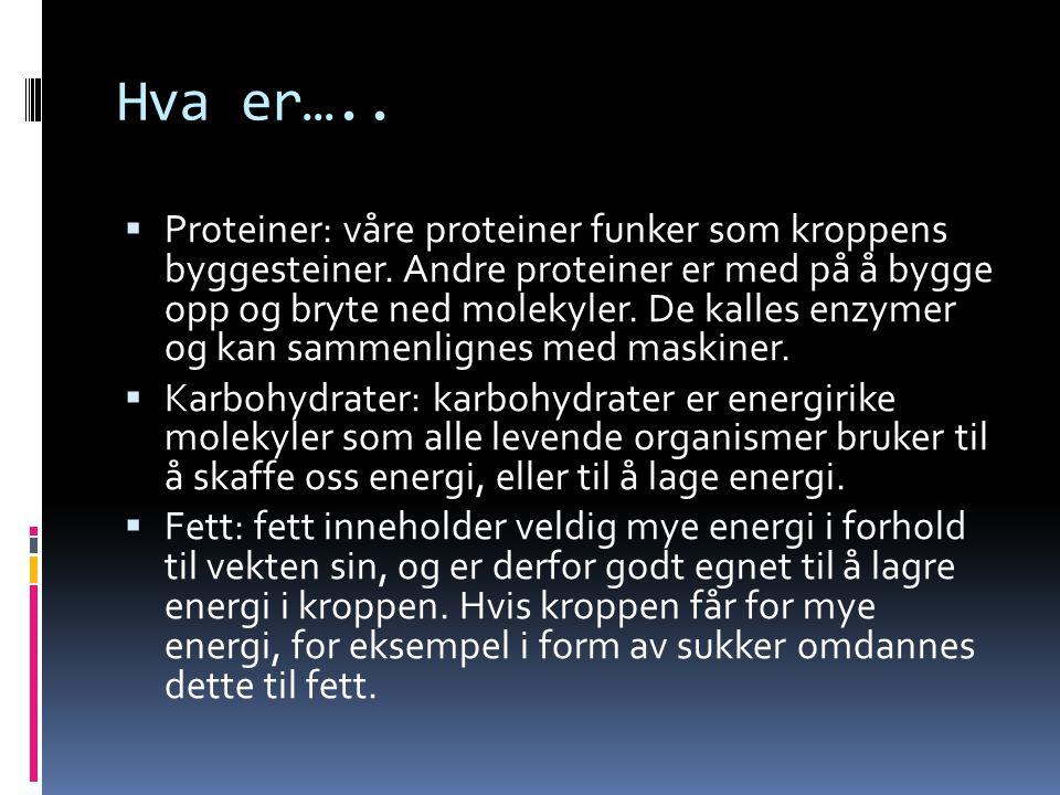 Hva er…..  Proteiner: våre proteiner funker som kroppens byggesteiner. Andre proteiner er med på å bygge opp og bryte ned molekyler. De kalles enzyme