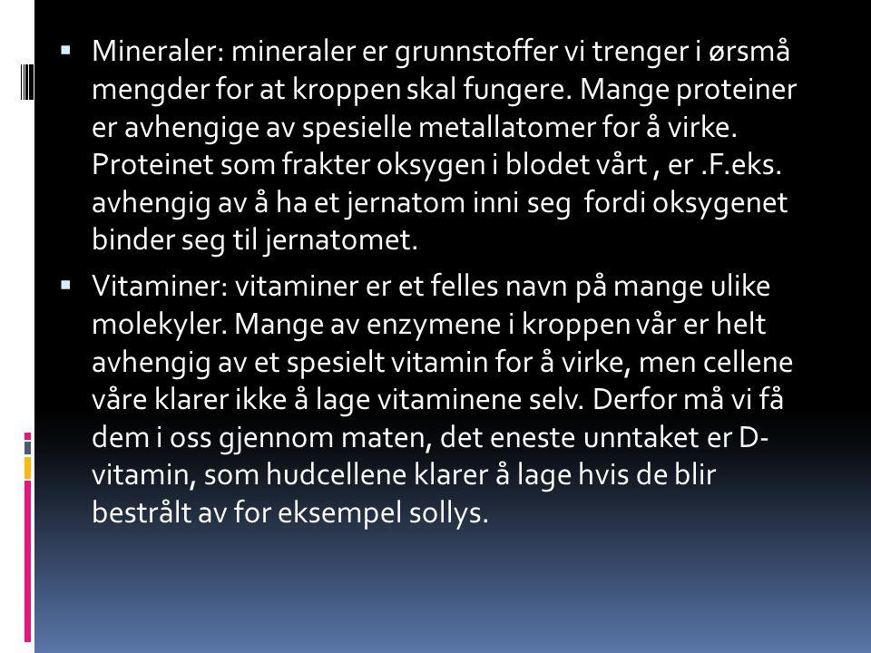  Mineraler: mineraler er grunnstoffer vi trenger i ørsmå mengder for at kroppen skal fungere. Mange proteiner er avhengige av spesielle metallatomer
