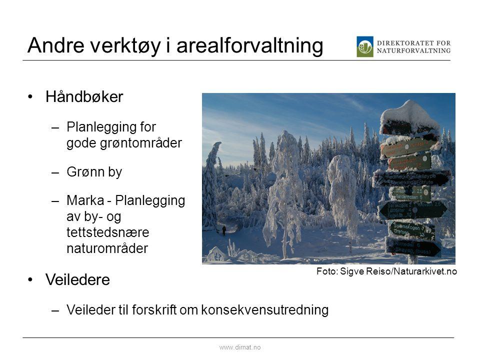 Andre verktøy i arealforvaltning •Håndbøker –Planlegging for gode grøntområder –Grønn by –Marka - Planlegging av by- og tettstedsnære naturområder •Ve
