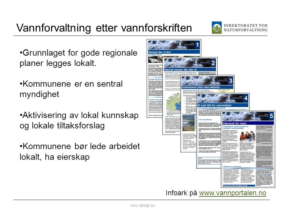 Vannforvaltning etter vannforskriften www.dirnat.no Infoark på www.vannportalen.nowww.vannportalen.no •Grunnlaget for gode regionale planer legges lok