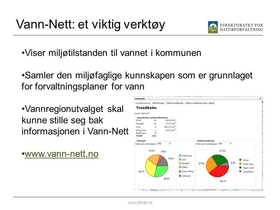 Vann-Nett: et viktig verktøy www.dirnat.no •Viser miljøtilstanden til vannet i kommunen •Samler den miljøfaglige kunnskapen som er grunnlaget for forv