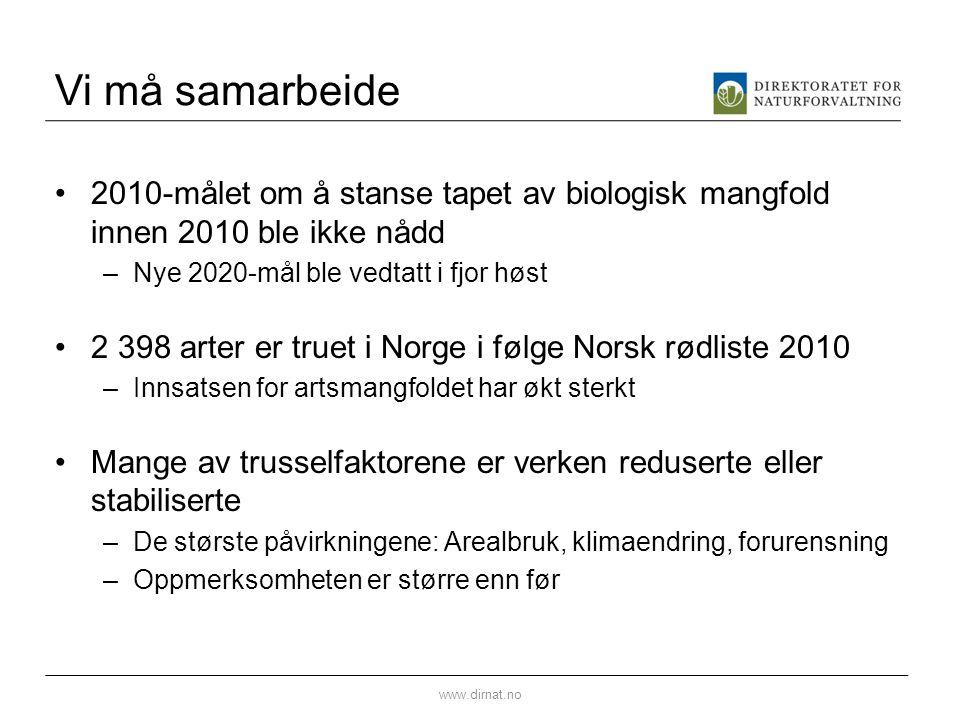 Vi må samarbeide •2010-målet om å stanse tapet av biologisk mangfold innen 2010 ble ikke nådd –Nye 2020-mål ble vedtatt i fjor høst •2 398 arter er tr