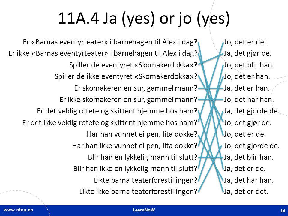 LearnNoW 11A.4 Ja (yes) or jo (yes) Er «Barnas eventyrteater» i barnehagen til Alex i dag.