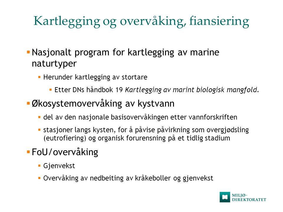Kartlegging og overvåking, fiansiering  Nasjonalt program for kartlegging av marine naturtyper  Herunder kartlegging av stortare  Etter DNs håndbok