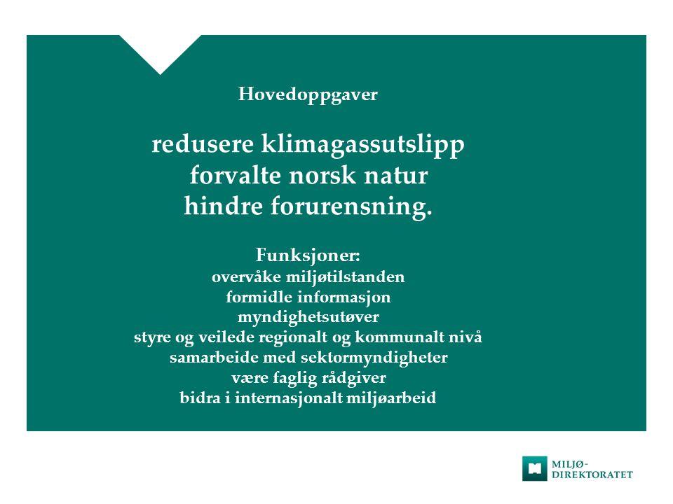 Hovedoppgaver redusere klimagassutslipp forvalte norsk natur hindre forurensning. Funksjoner: overvåke miljøtilstanden formidle informasjon myndighets
