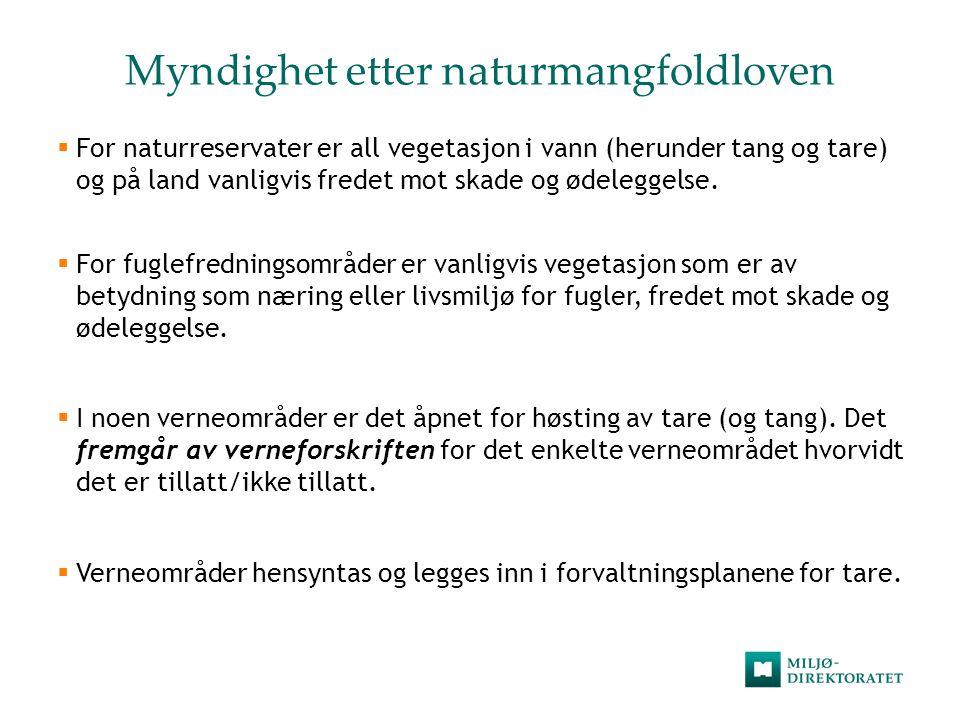 Myndighet etter naturmangfoldloven  For naturreservater er all vegetasjon i vann (herunder tang og tare) og på land vanligvis fredet mot skade og øde