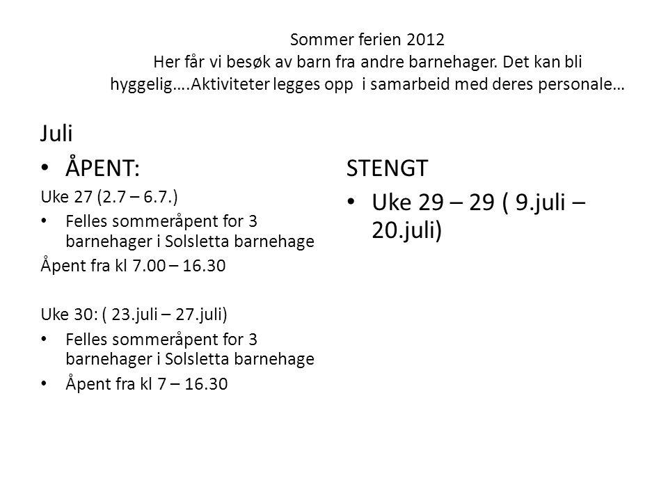 Sommer ferien 2012 Her får vi besøk av barn fra andre barnehager. Det kan bli hyggelig….Aktiviteter legges opp i samarbeid med deres personale… Juli •